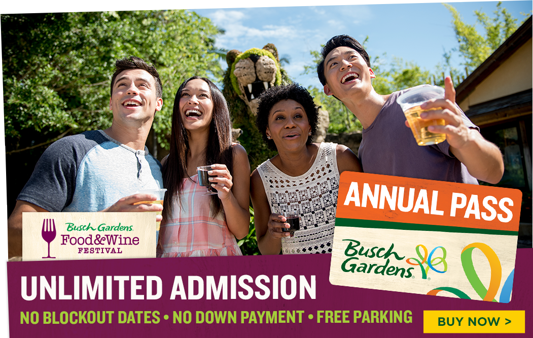 Busch Gardens Tampa Bay Tickets Annual Passes Events Park Hours and BOGO Fun Card Promotion